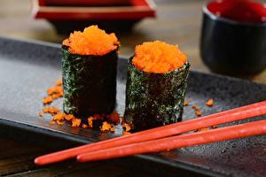 Картинки Суши Икра Палочки для еды Japanese cuisine Еда