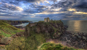 Фотография Пейзаж Реки Замки Утес Облака HDR Dunnottar Castle Природа