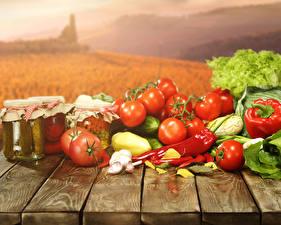 Картинка Овощи Помидоры Перец Чеснок Банка Доски Еда
