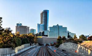 Обои США Небоскребы Дороги HDRI Atlanta Georgia Города
