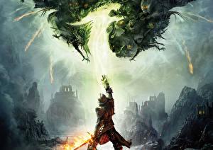 Картинка Dragon Age Рыцарь Монстры Броня Inquisition Фэнтези