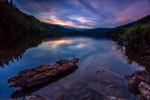 Обои Пейзаж Речка Рассветы и закаты Горы Природа