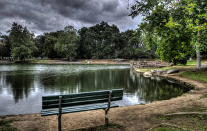 Фотографии Штаты Парк Пруд Калифорнии Скамейка HDRI Irvine Regional Park Природа
