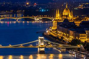 Фото Венгрия Здания Реки Мост Будапешт Ночь город