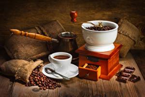 Обои Напитки Кофе Шоколад Кофемолка Чашка Зерна Ложка Турка Еда
