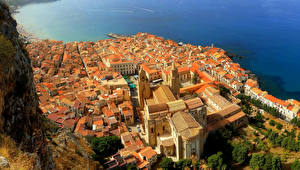 Обои Италия Дома Сицилия Сверху Cefalu Города фото