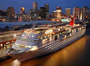 Обои Корабли Круизный лайнер Причалы Ночные Carnival Fantasy