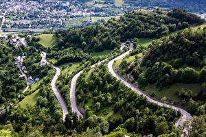 Фотография Франция Пейзаж Дороги Сверху Alpe d'Huez Природа