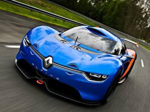 Фотографии Рено Синий Спереди Едущий Alpine A110-50 Concept Авто