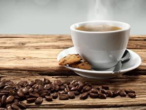 Фото Кофе Печенье Зерна Чашка Пар Продукты питания