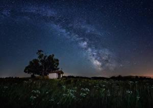 Фотография Болгария Млечный Путь Храмы Небо Звезды Ночь St. Cyprian chapel Космос