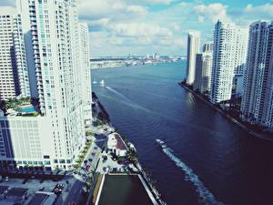Обои США Небоскребы Майами Флорида vice city Города фото