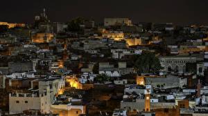 Картинки Марокко Дома В ночи Fez Города