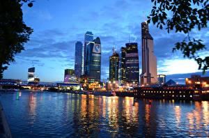 Фотография Россия Москва Здания Речка Корабль город