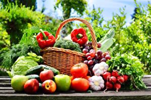 Фотография Овощи Помидоры Редис Чеснок Яблоки Перец овощной Виноград Корзинка Еда