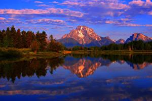 Картинки США Парки Озеро Гора Осень Рассвет и закат Деревьев Wyoming grand teton Природа