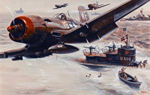 Фотография Живопись Самолеты Подводные лодки Война Истребители Mort Kunstler Армия