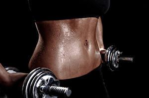 Картинки Фитнес Гантели Живот Красивые training weights Спорт Девушки