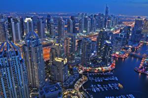 Фото Объединённые Арабские Эмираты Дубай Небоскребы Сверху Marina Города