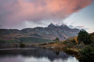 Фотография Озеро Гора Осенние Пейзаж Природа
