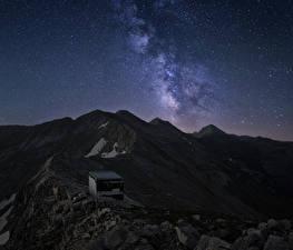 Картинка Млечный Путь Болгария Горы Небо Звезды Koncheto Pirin National Park Vihren Природа