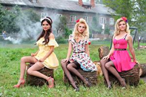 Обои Фабрика Трое 3 Платье Трава Блондинка Irina Toneva Alexandra Savelyeva Музыка Девушки фото