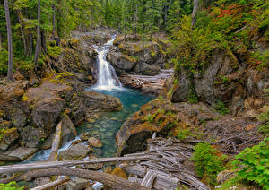 Обои США Водопады Камни HDR Silver Falls, Packwood, Washington Природа фото