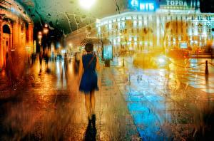 Фотография Санкт-Петербург Россия Дождь Улица Ночные Зонт Города Девушки