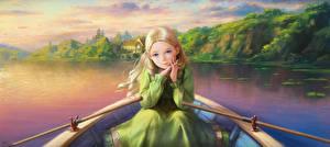 Картинки Лодки Рисованные Картина Речка Девочки Фэнтези
