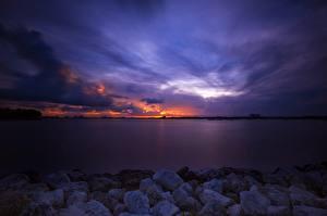 Обои Море Рассветы и закаты Небо Камни Майами Природа фото