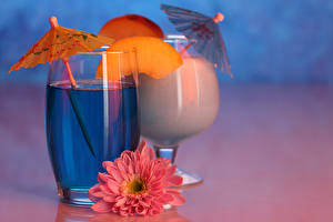 Картинки Напиток Коктейль Фрукты Георгины Стакан Пища