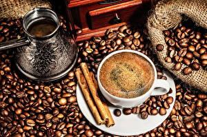 Картинки Напитки Кофе Корица Чашке Зерна Турка Еда