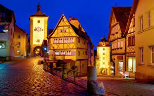 Фотографии Германия Дома Улице В ночи Уличные фонари Rothenburg Города