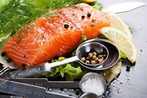 Обои Морепродукты Рыба Приправы Лимоны Пища