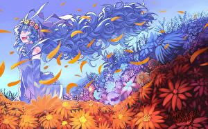 Картинка Vocaloid Мику Хацунэ Волосы Девушки Цветы