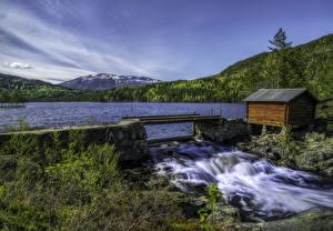 Фотографии Норвегия Пейзаж Реки Водопады Леса Природа