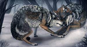 Фотографии Картина Волки Зима Вдвоем Животные