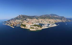 Фотографии Монако Побережье Море Лигурия Сверху Monaco город Природа