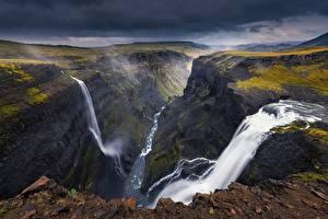 Картинка Исландия Водопады Реки Пейзаж Каньон Природа