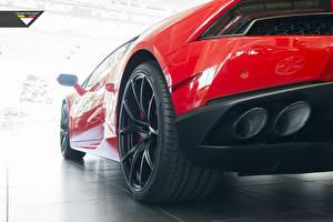 Картинки Lamborghini Красный Вид Колесо Vorsteiner Huracan Авто