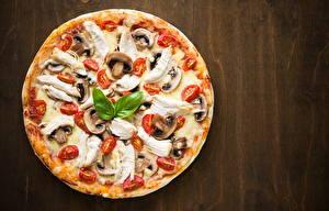 Фото Фастфуд Пицца Грибы Томаты Пища