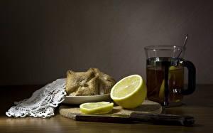 Фотографии Чай Лимоны Стакане Продукты питания