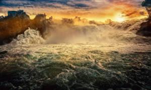Обои Реки Водопады HDR Rise and Fall Природа фото