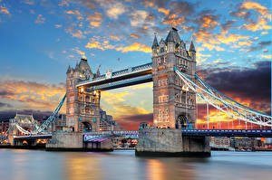 Фотография Англия Мост Лондоне Tower Bridge Thames River