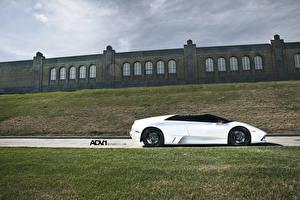 Фото Ламборгини Белый Сбоку Роскошные Родстер LP640 Roadster murcielago Deep Concave Wheels Автомобили