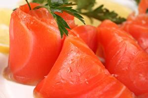 Фотографии Морепродукты Рыба Красный Продукты питания