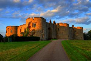Картинка Великобритания Замки Дороги Трава Chirk Castle Города