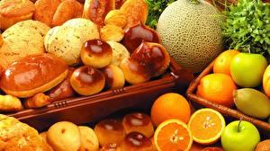 Картинка Выпечка Фрукты Апельсин Булочки Яблоки Крупным планом Продукты питания