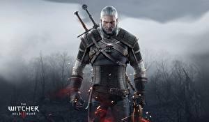 Обои The Witcher The Witcher 3: Wild Hunt Воители Мужчины Геральт из Ривии Доспехи Мечи Gwynbleidd Vatt ghern Игры фото