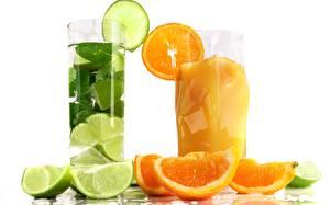 Фотографии Коктейль Напитки Апельсин Крупным планом Фрукты Лайм Продукты питания